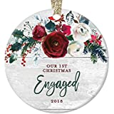 """Modern Farmhouse Engagement Ornament 2018, 1st Christmas Engaged, Gift for Couple Bride & Groom to Be Rustic Decor Present Ceramic Keepsake Present 3"""" Flat Circle Porcelain with Gold Ribbon & Free Box"""