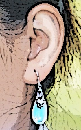 Opalite Tear Earrings Blue Teardrop Dangle 925 Sterling Silver with Purple CZ