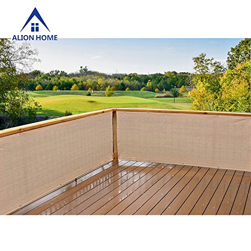 Alion Home Elegant Privacy Mesh Windscreen For Backyard Deck, Patio, Balcony,Fence, Porch. Banha Beige (35''x26')