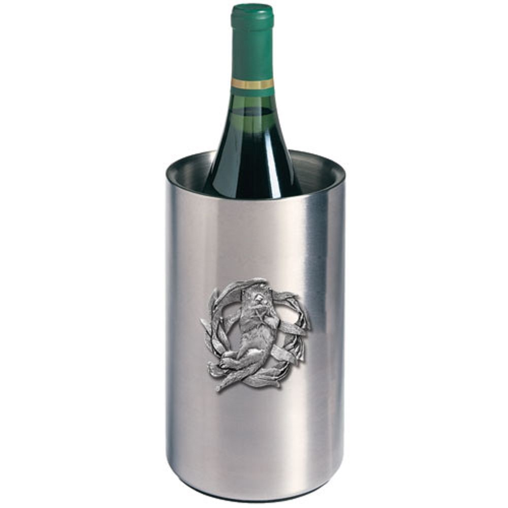 ANIMAL, SEA OTTER WINE CHILLER, This is a wine chiller made of double-wall insulated stainless steel with a fine pewter logo medallion bonded to the front.