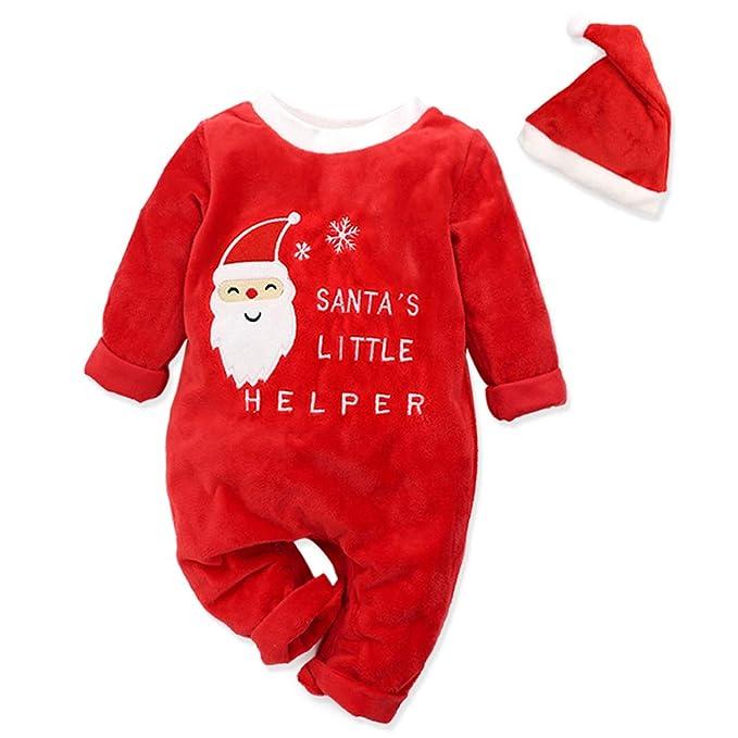 Amazon.com: Juego de 2 pijamas de Navidad con gorro de ...