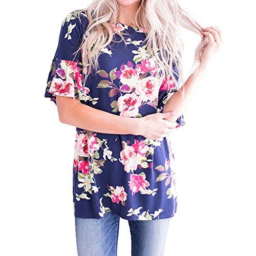 Ruffled Tunic Blouse - Kiess Womens Summer Casual Loose Floral Printed 3/4 Ruffled Sleeve Tunic Hi Low T Shirt Blouse Tops [ Blue S ]