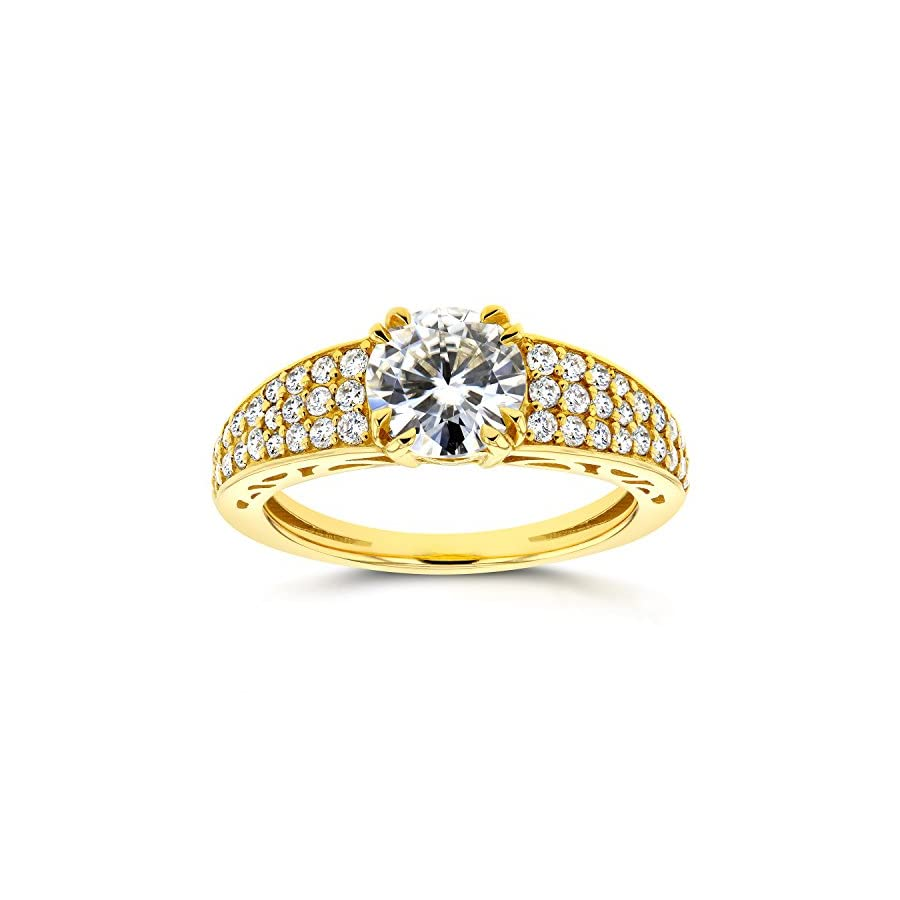 Near Colorless (F G) Moissanite and Diamond Soft Edged Engagement Ring 1 2/5 CTW 14K Yellow Gold