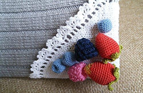 Cosmetic Bag, Berries Makeup Organizer Bag, Zipper Coin Purse, Crochet Pouch, Cosmetic Zipper Pouch, Zipper Coin Purse, Gift Ideas for Women