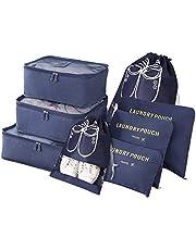 Vicloon Bagage-Organizer, 6-in-1 Set Koffer Organizer Bevat 3 x Pakkubussen en 3 x Opbergzakken, Reistassen Voor Droge Kleding, Ondergoed, Cosmetica en Andere Accessoires