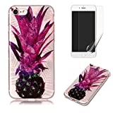 For iphone 7 Plus/iphone 8 Plus Case with Pattern Purple Pineapple,OYIME Glitter Bling Design Ultra Thin Slim Fit Protective Back Cover Soft Silicone Rubber Shell Drop Protection Anti-Scratch Transparent Bumper and Screen Protector