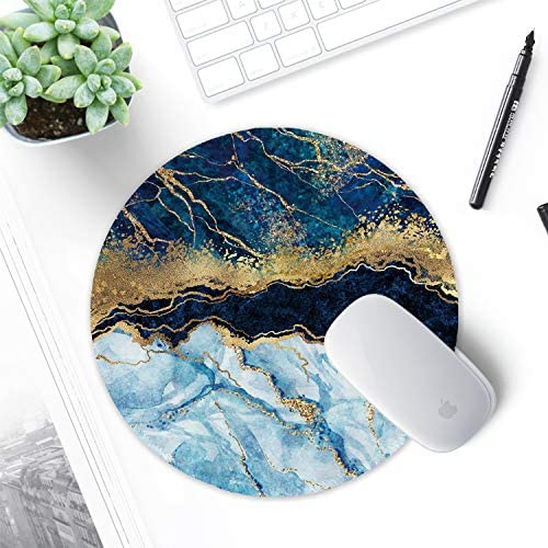 ITNRSIIET [20% Larger] Mouse Pad with Stitched Edge Premium-Textured Mouse Mat Waterproof Non-Slip Rubber Base Round Mousepad for Laptop PC Office 8.7×8.7×0.12 inches, Blue Cracked Marbling
