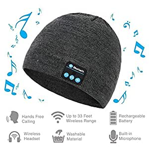 Bluetooth Winter Beanie Headphones, Knit Hat Slouchy Skullies Cap & Touchscreen Gloves Mitts Great Gift, Wireless Stereo Heatsets Speaker Microphone and Volume Control(Gray)