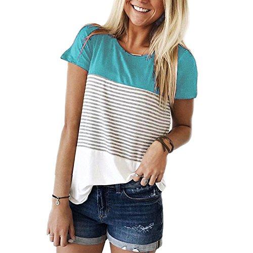 Euaoxnc Womens Short Sleeve Round Neck Color Block Striped T-Shirt Tops Blouse (S-XXXL)