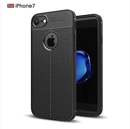 Iphone 7, Luxury Case, Romani, Tough and Flexible, Premium Protective Case, TPU Leather Auto Focus Skin Back Cover, Black