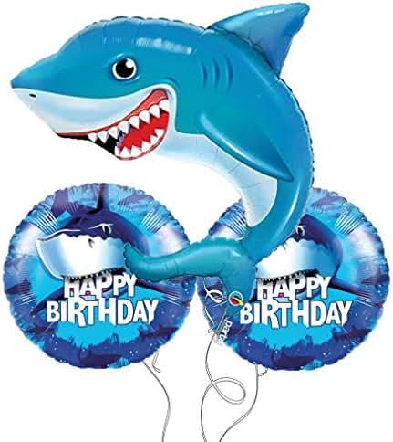Shark Party Happy Birthday Mylar Balloon Bouquet