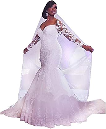 Amazon Com Meganbridal Sweetheart Lace Mermaid Wedding Dress With Train Long Sleeve Bridal Ball Gowns For Women Bride Clothing