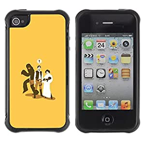 Suave TPU Caso Carcasa de Caucho Funda para Apple Iphone 4 / 4S / Monkey Baby Marriage Funny Cheating / STRONG