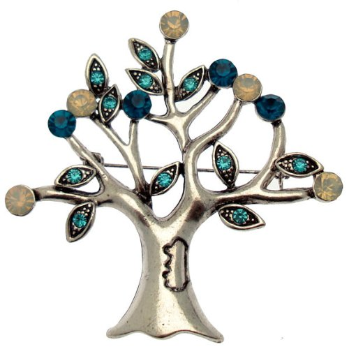 Acosta Blue & Opal Crystal Large Vintage Style Tree of Life Brooch Gift Boxed