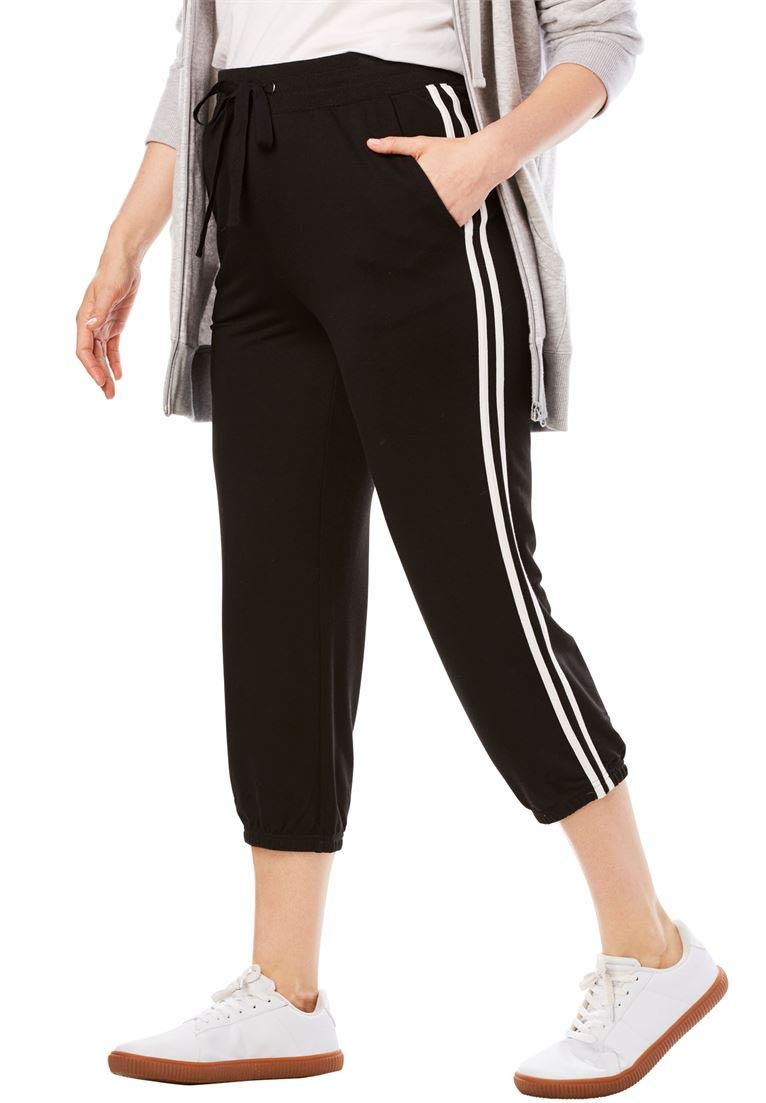 Woman Within Women's Plus Size Supersoft Terry Side-Stripe Capri Jogger