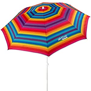 Aktive 62217 – Sombrilla de playa con protección UV filtro 50, incluye bolsa para transportarla, diámetro180 cm