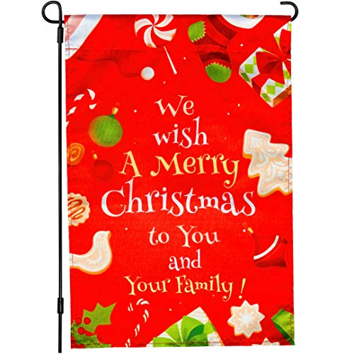 Christmas garden flag - outdoor 12 x 18 double sided merry xmas yard flags decorations - outside seasonal red house decor - outdoors welcome lawn decoration for the winter, fall, autumn, Thanksgiving (Best Decorations Christmas Outside)