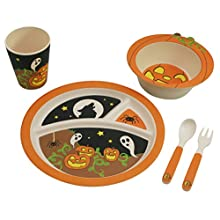 EcoBamboo Ware Kids Dinnerware Set, Halloween Pumpkin, 5 Piece