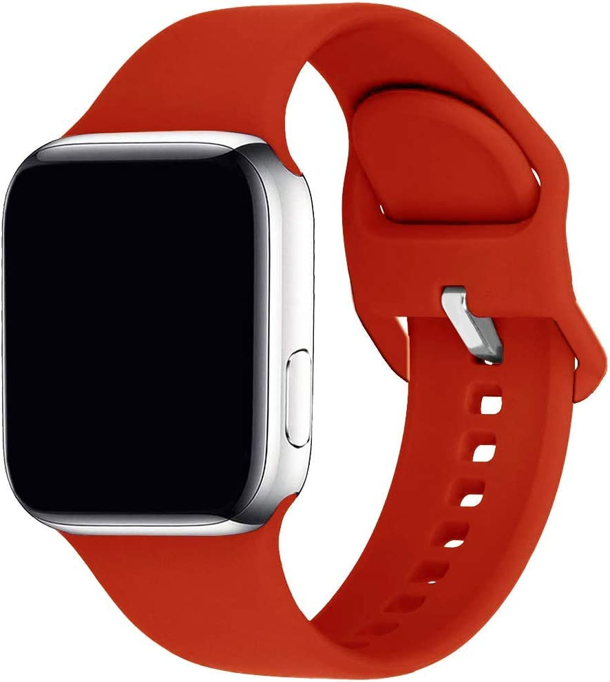 Lakvom Sport Band Compatible for Apple Watch 38mm 42mm 40mm 44mm, Soft Silicone Replacement Strap for iWatch Series 6 5 4 3 2 1 SE (Red, 42mm/44mm-m/l)