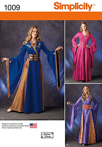 Simplicity Women's Renaissance Faire and Cosplay Costume Dress Gown Sewing Pattern, Sizes 14-22