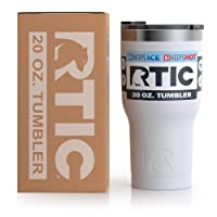 RTIC Insulated Travel Tumbler, Stainless Steel Mug, Hot Or Cold Drinks, with Splash Proof Lid, 20Oz, White