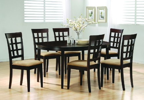 Amazon.com - Oval Dining Room Wood Table Chair Set Wheat Back ...