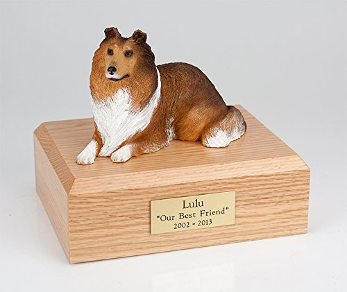 GENUINE North American Hardwood and Collie Laying Figurine Urn Sable Large ()