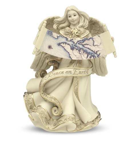 Pavilion Gift Company Sarah's Angels Tapestry Series Musical Angel Holding Map Figurine, Plays Tune-Joy to The World, 8-Inch