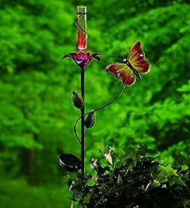 Wind & Weather Butterfly And Flower Solar Rain Gauge