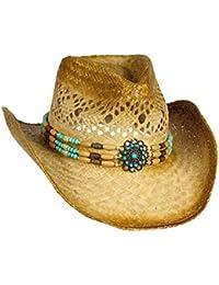 fe5b0b1df8668 Handwoven Raffia Straw Cowboy Hat w Teal Blue Beaded Band – Beach Cowgirl