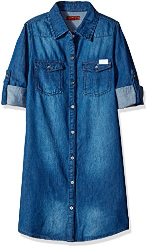 7 For All Mankind Little Girls' Long Sleeve Lightweight Denim Shirtdress, Medium Vintage, (Seven For All Mankind Lightweight Jeans)