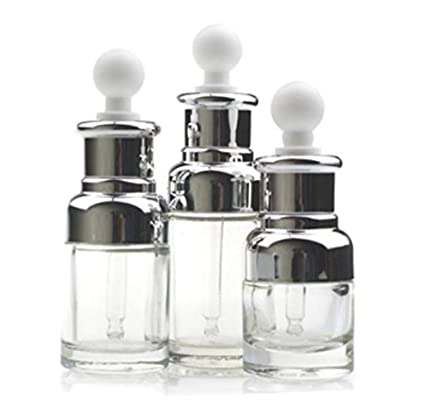Botella líquida de vidrio transparente de alta calidad para aceites esenciales, cabezal de goma,