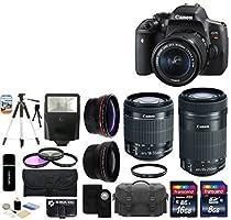 Canon EOS Rebel T6i 24.2MP CMOS Digital SLR Camera + EF-S 18-55mm IS STM Lens + EF-S 55-250mm IS STM Lens + Telephoto Lens + Wide Angle Lens + Case + Flash + Tripod + 24GB Deluxe Accessories Bundle