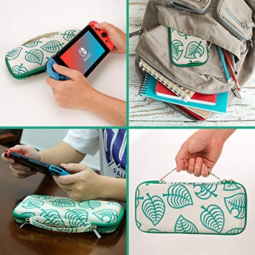 Carrying Case for Nintendo Switch,Travel Carry Cover Hard Shell Storage for Leaf Crossing NS Console and Accessories,Slim Protective Portable Travel Pouch Bag with 10 Game Card Slots for ladies boys