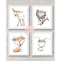 Woodland Deer Fox Bunny Rabbit Raccoon Wall Art Print Woodland Boho Bohemian Floral Nursery Baby Girl Room Set Boho Fox Woodland Bunny Deer Nursery Wall Art Print Baby Girl Room Decor