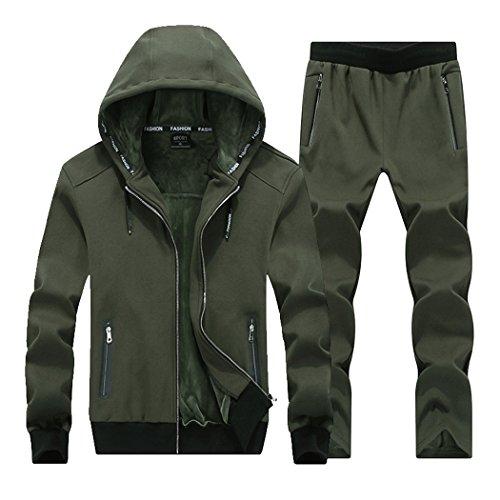 Real Spark Men's Athletic Zipper Velvet Tracksuit Sport Set Casual Hoodie Sweat Suit Green XXXL