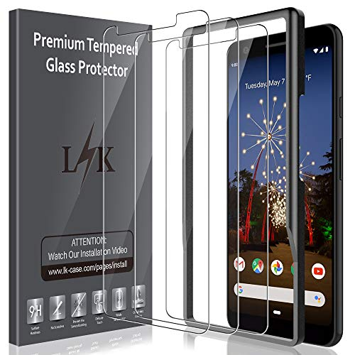 LK [3 Pack] Screen Protector for Google Pixel 3a XL, Tempered Glass [Frame-Installation] [HD Clear] [Anti-Scratch] with Lifetime Replacement Warranty (Best Glass Screen Protector Google Pixel)