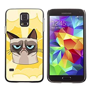 Licase Hard Protective Case Skin Cover for Samsung Galaxy S5 - Funny Grumpy Cat Illustration