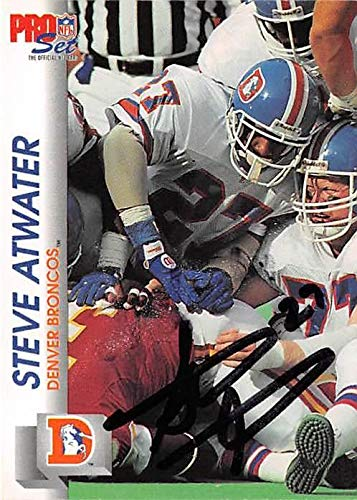 Steve Atwater autographed football card (Denver Broncos) 1992 Pro Set #482 - NFL Autographed Football Cards