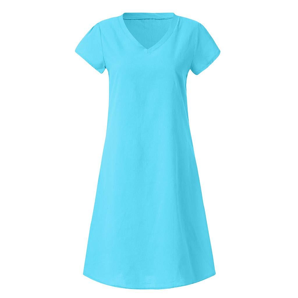 Fineser Women Summer Casual Dress Womens Short Sleeve V Neck Style Linen Dress Casual Plus Size Ladies Dress S-5XL