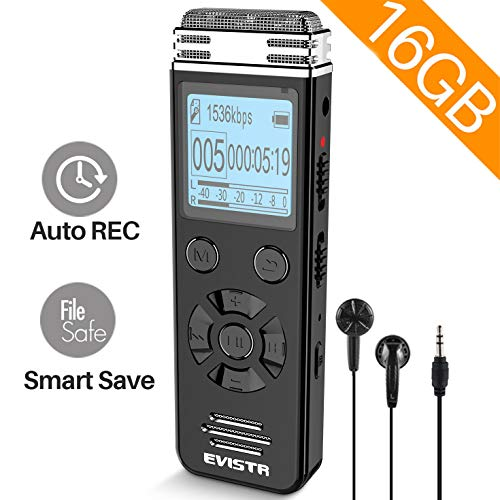 EVISTR V508 16gb Digital Voice Recorder for Lectures Meetings - Portable Recording Devices with Playback, Line-in, Password, USB Rechargeable