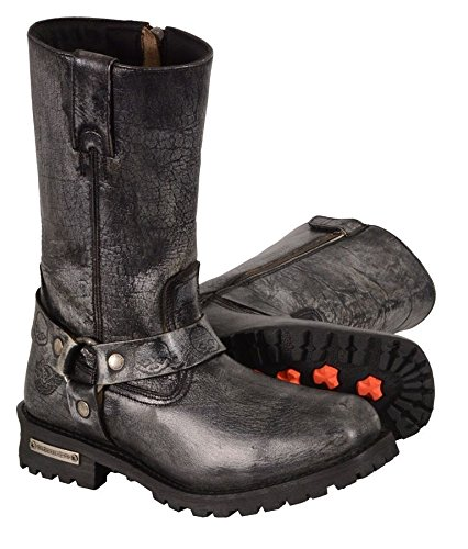MEN' S MOTORCYCLE GENUINE LEATHER DISTRESSED GREY 11 INCH BOOT (11.5 Regular) Unbranded