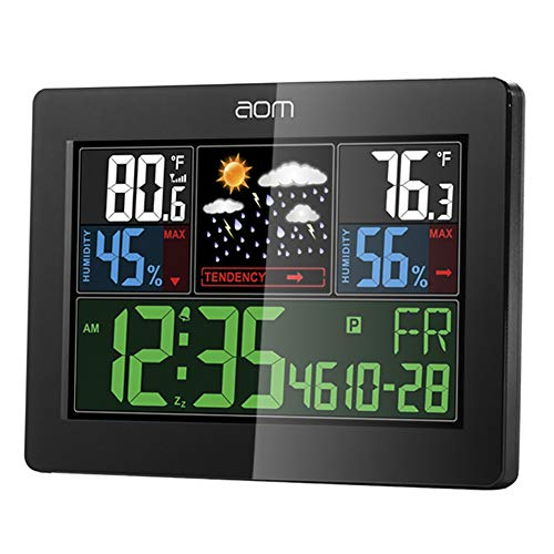 Weather Station Wireless Indoor Outdoor Weather Instruments with Color LCD Screen Thermometer and Moisture Alarm Clock Temperature and Humidity Monitoring for Home and Office (La Crosse Wireless Color Weather Station Review)