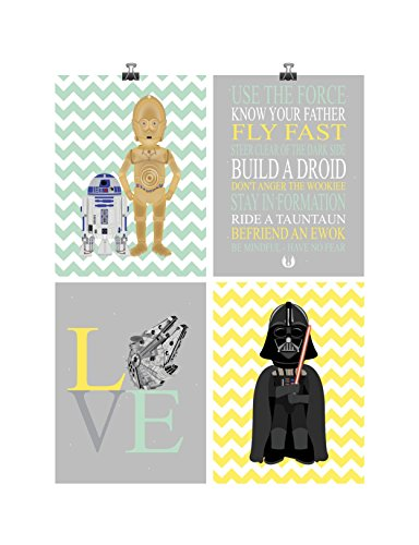 Star Wars Nursery Decor Set of 4 Art Prints - Jedi Rules, Love R2D2, C3PO and Darth Vader - Multiple Sizes ()