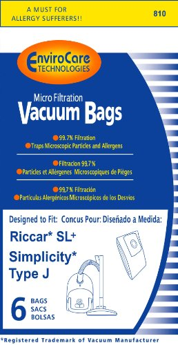 Riccar SL+ & Simplicity Type J Bag for Champ, 6 (Plus Canister Vacuum Bags)