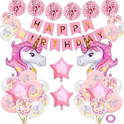 SPECOOL Unicornio Decoración de cumpleaños para niña, Rosa Feliz ...