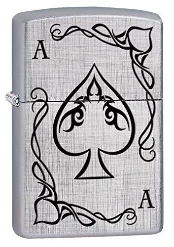 Zippo Lighter Mint - Zippo Custom Lighter: Ace of Spades Playing Card - Linen Weave 78528