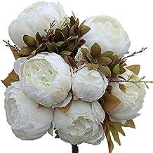 Artificial Peony Wedding Flower Bush Bouquet-GreenDec Vintage peony Silk Flowers for Home Kitchen Wreath Wedding Centerpiece Decor (White, 2 Pack)