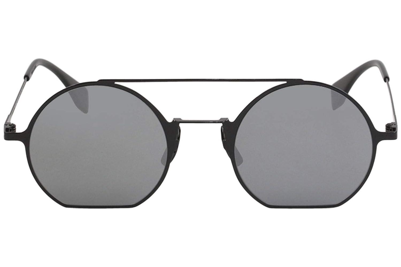052befdb299 Amazon.com  Fendi Eyeline FF 0291 807 T4Black Metal Round Sunglasses Blue  Mirror Lens  Clothing