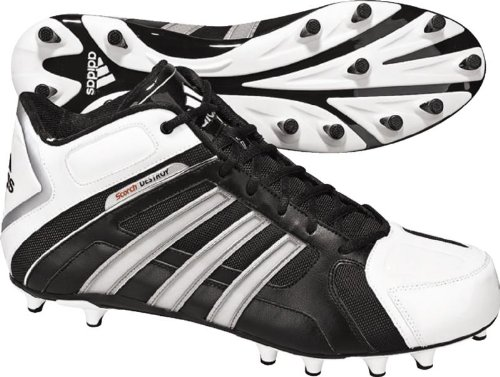 adidas Men's Scorch Destroy Fly Mid Football Shoe,Black/Running White/Metallic Silver,11 D US